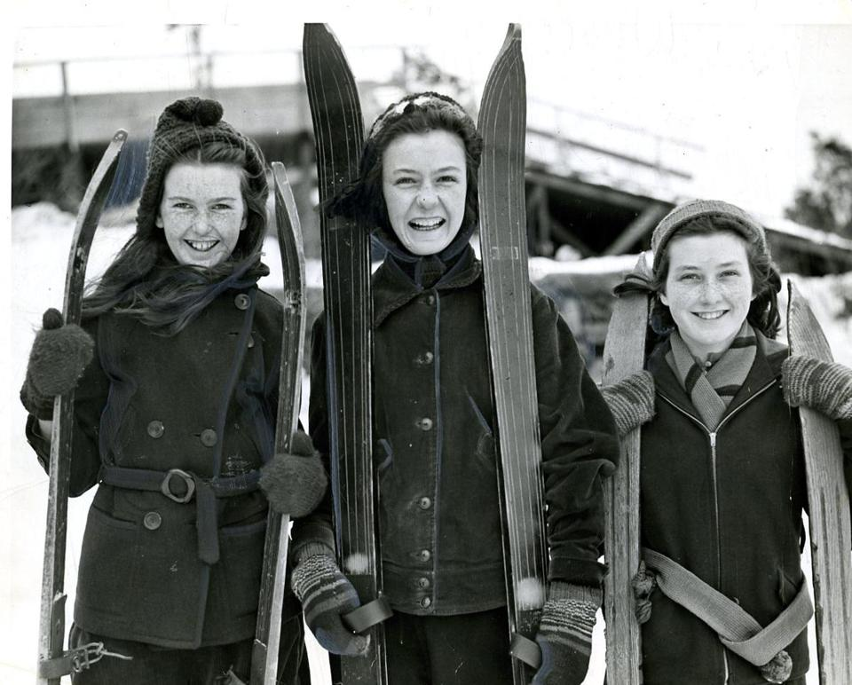 Feb. 26, 1940: Nancy Munnis, Barbara Jouannet, and Jean Munnis, all of Dorchester, tried out their skis at Franklin Park.